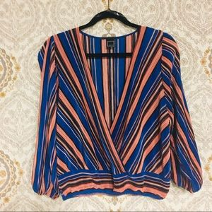 Satin long sleeve deep v multicolor blouse